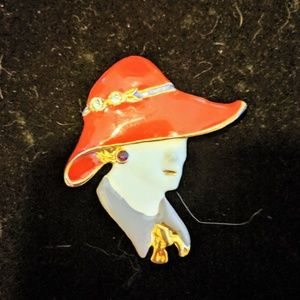 Woman Wearing a Red hat Vintage Brooch Jewelry
